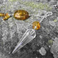 Bergkristall-Pendel mit Bernstein